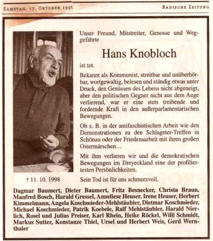 Hans Knobloch ist tot
