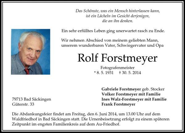 Traueranzeige Rolf Forstmeyer