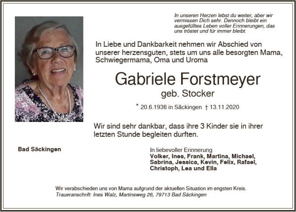 Traueranzeige Gabriele Forstmeyer